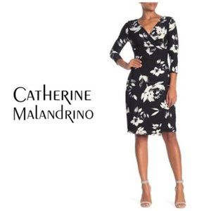 Catherine Malandrino Black White Floral Wrap Dress